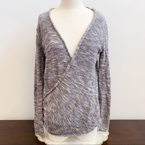 Free People Heather Gray Faux Wrap Sweater Cozy M